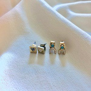 Madewell horseshoe / rectangle stud earrings